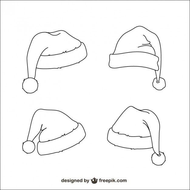 Santa Claus Hats Sketches Free Vector Sketch Free Printable Christmas Ornaments Vector Free