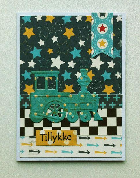 Tag small card - kid birthday card with train Marianne design train die LR0308  - til og fra kort fødselsdag - Carta Bella: Boy oh Boy - paper pad - JKE