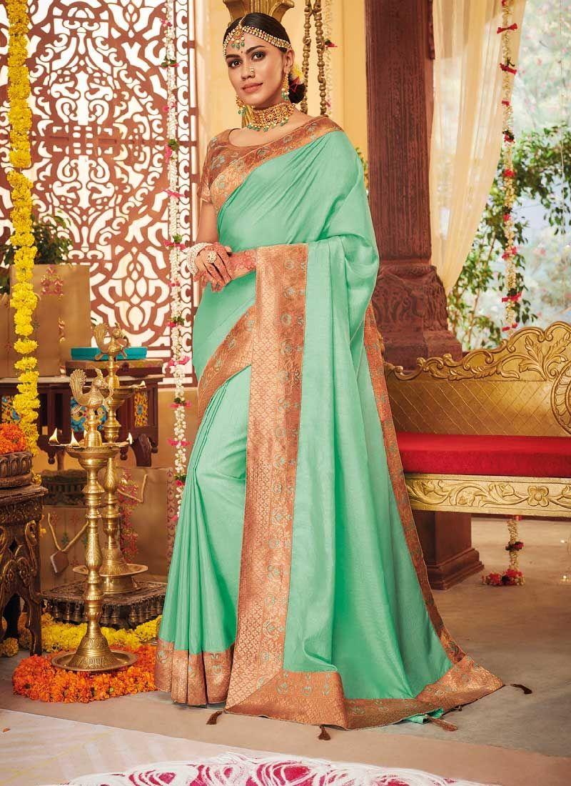 Dola Silk Dyed Saree With Contrast Matching Blouse Weaving Style Banarasi Dyed