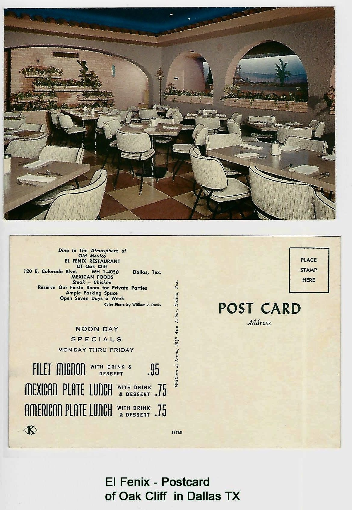 El Fenix, 120 E  Colorado Blvd, Oak Cliff, Dallas, Texas-Postcard