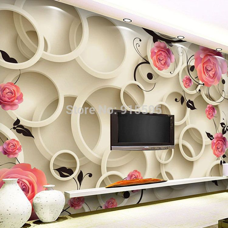 3D Wallpaper Bedroom Living Mural Roll Modern Pink Rose Flower Wall  Background #Unbranded Part 65
