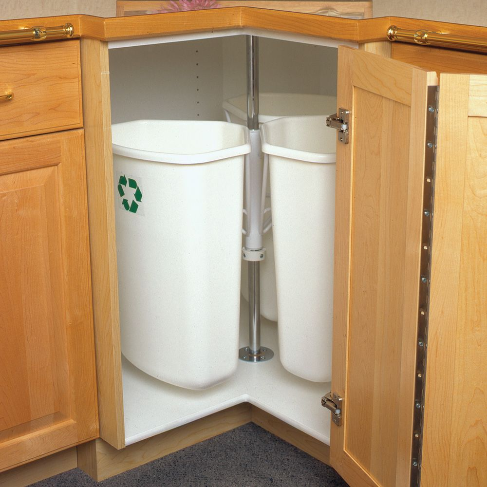 Pull Out Built In Trash Cans Cabinet Slide Out Under Sink Kitchen Trash Cans Kitchensource Com Kitchen Trash Cans Recycling Center Recycled Door