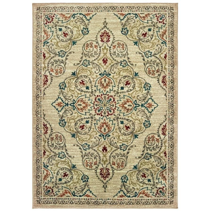 Style Selections Margaery Ivory Indoor French Country Area Rug Common 8 X 10 Actual 7 83 Ft W X 10 83 Ft L Lowes Com Country Area Rugs Oriental Area Rugs Area Rugs
