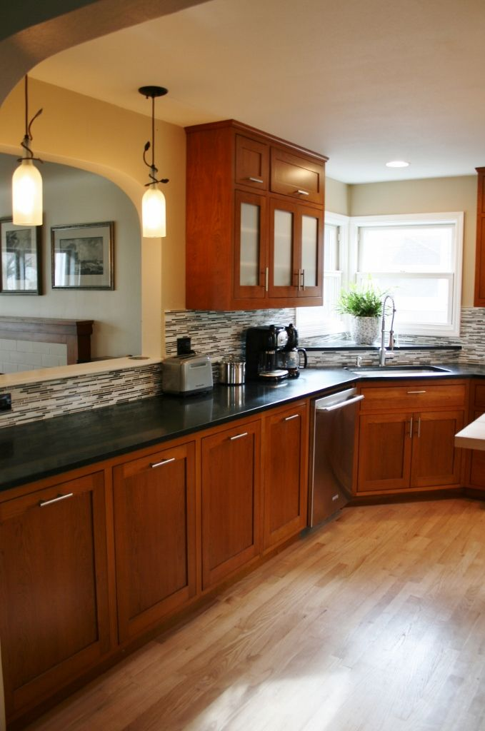 Kitchen kitchen color schemes with cherry cabinets plus for Dark wood cabinets small kitchen