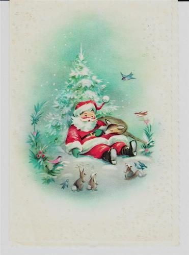 Vintage Unused Santa Asleep with Deer in Glitter Forest Christmas Greeting Card | eBay