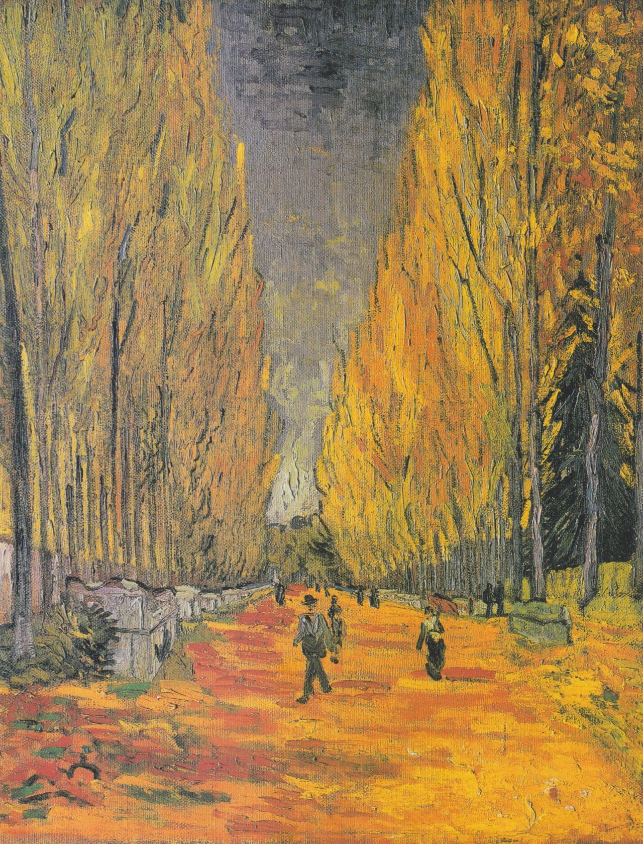 Les Alyscamps falling leaves by Vincent Van Gogh Giclee Repro on Canvas