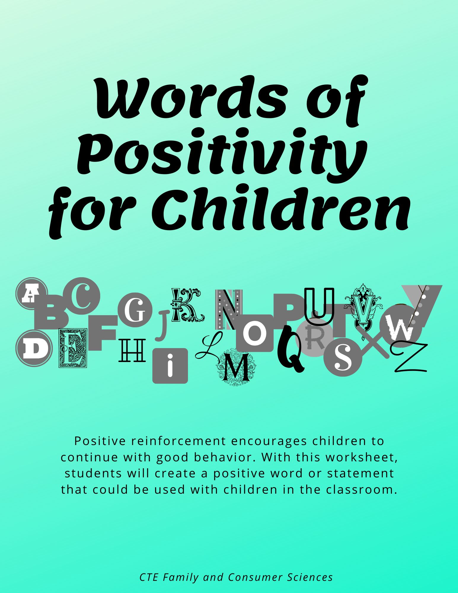 Words Of Positivity For Children Worksheet In