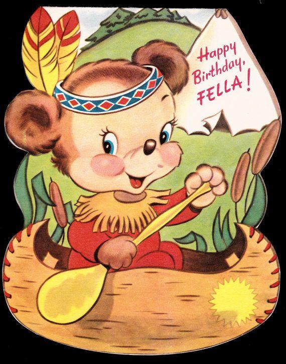 Vintage Indian Teddy Bear Happy Birthday By Vintagerecycling Vintage Birthday Cards Happy Birthday Greeting Card Vintage Greeting Cards