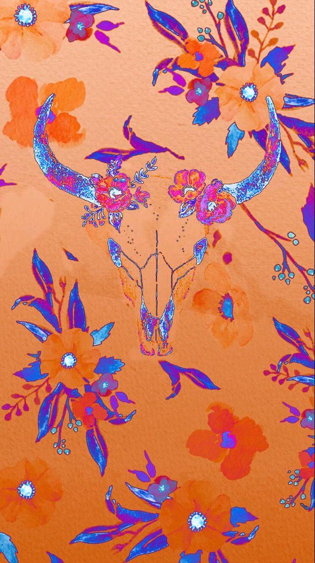 Floral bull skull Skull wallpaper, Cow wallpaper