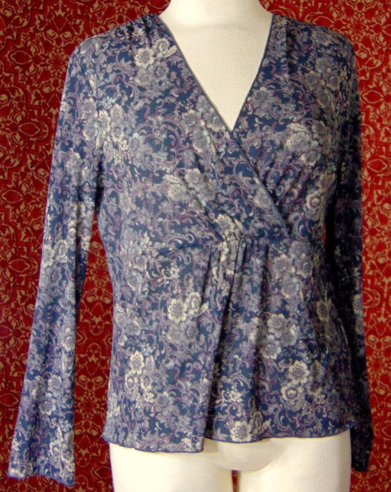 J Jill Gray Floral Polyester Mesh Long Sleeve Blouse M T39 01i6