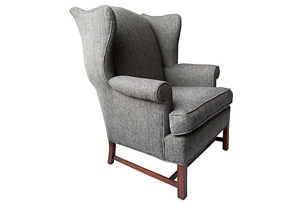 One Kings Lane - All Together Now - Herringbone Wing Chair