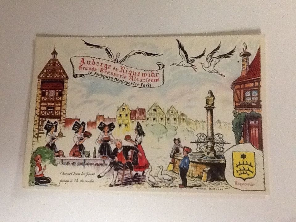 Auberge De Riquewihr Postcard Grande Brasserie Alsatienne Paris