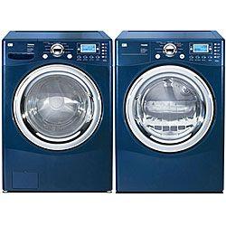 lg front load blue steam washer and gas dryer combo refurbished. Black Bedroom Furniture Sets. Home Design Ideas