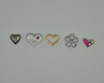 Floating Locket charms I love you golden heart flower pink Fits Origami Owl Style Lockets