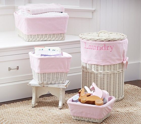 Light Pink Gingham Sabrina Liners Pottery Barn Kids