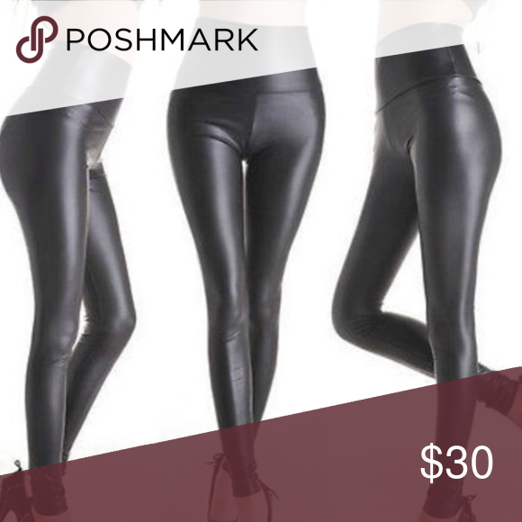 Faux Leather Stretch Leggings Please don't buy without commenting! This is a test run to see how many are interested. (: Pants Leggings