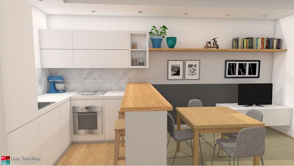 Progettazione di un soggiorno moderno con cucina a vista easy relooking livingroom - Soggiorno living con cucina ...