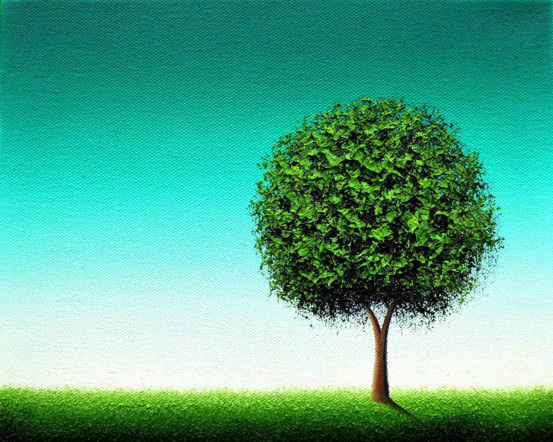 Minimalist Green Tree Print, Emerald Green Tree Art, Housewarming ...