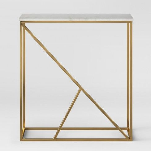 Highfield Console Table White Marblebrass Fully Assembled