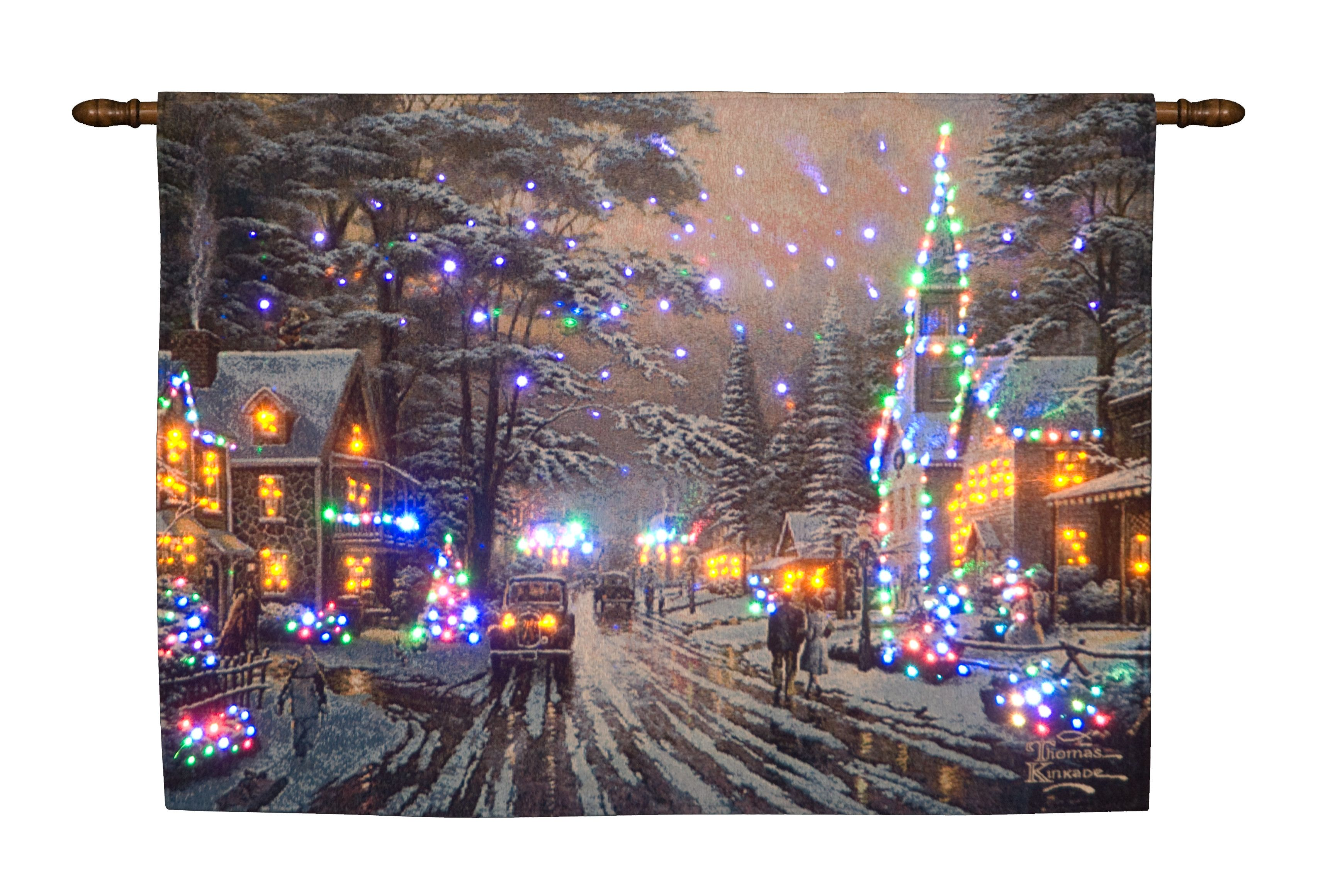 Fibre Optic Memories of Christmas Hanging Tapestry Battery Operated