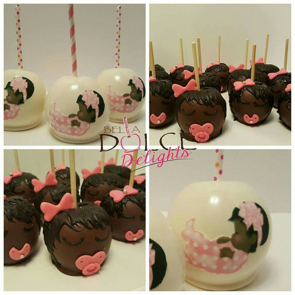 Super cute baby shower idea chocolate vovered carmrl apples w little  chocolate baby girls