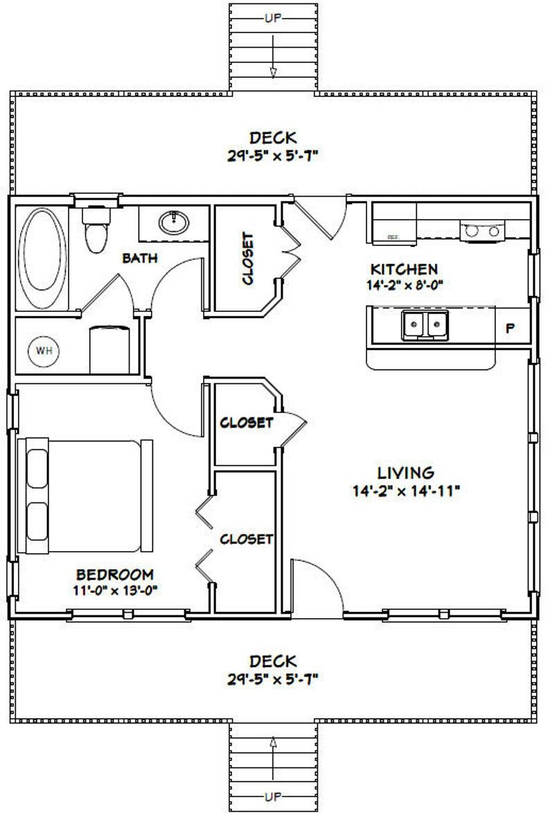 30x24 House 1 Bedroom 1 Bath 720 Sq Ft Pdf Floor Plan Etsy In 2020 Tiny House Floor Plans Tiny House Plans House Plans