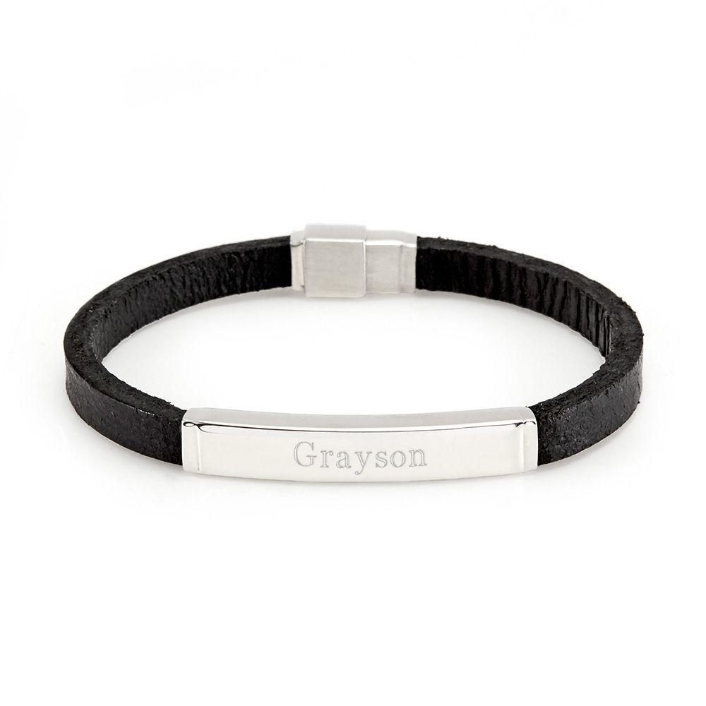 e650fbf7cbe1e Men's Black Leather Steel ID Bracelet | Parker | Id bracelets ...