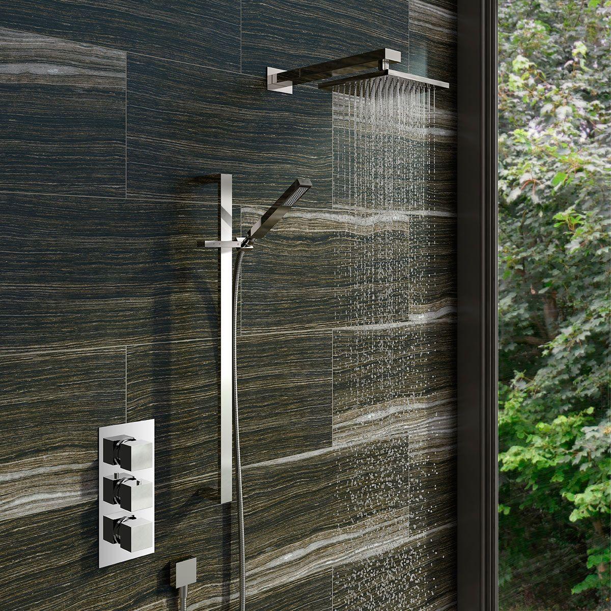 Mode Ellis thermostatic triple shower valve complete shower set ...