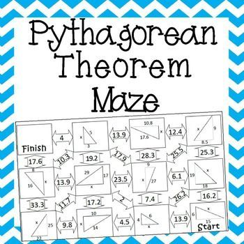 Pythagorean Theorem Worksheet Maze Activity Pythagorean Theorem Worksheet Pythagorean Theorem Math Maze