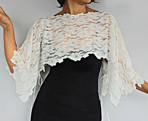 Bridal Cover Up Cream Lace Shrug Evening Poncho Ivory