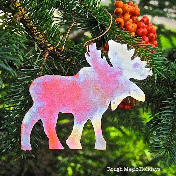 Moose Christmas Ornament Rustic Copper Metal Decoration Maine - moose christmas decorations