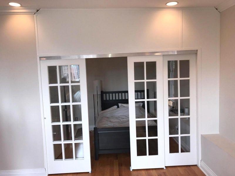 Custom sliding french door wall temporary wall