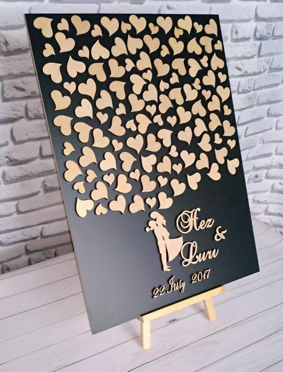 Wedding guest book Wood guestbook 3D wedding guestbook Rustic guest book Wooden guest book alternati