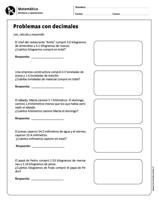Problemas con decimales | Matemática primaria | Pinterest | Math ...