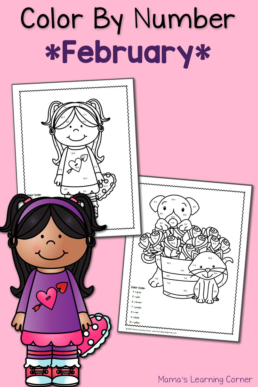 Color By Number Worksheets: February! | Valentine\'s Day | Pinterest ...