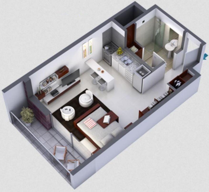 Plano en 3d de monoambiente peque o casas arq in 2019 - Diseno de casas 3d ...