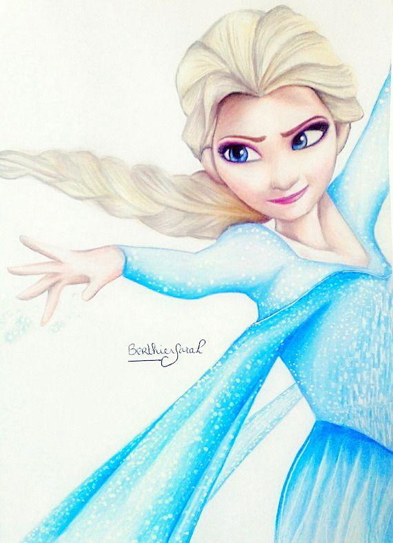 Dessin Elsa La Reine Des Neiges Aux Crayons De Couleurs