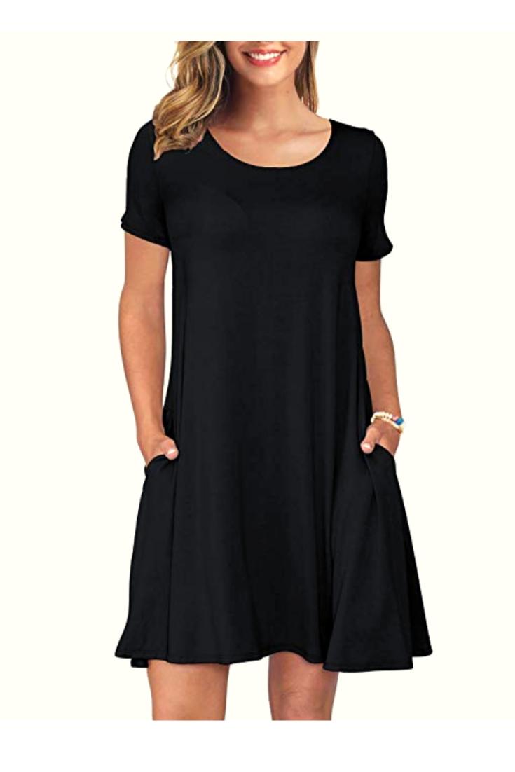 Best Korsis Women S Summer Casual T Shirt Dresses Short Sleeve Swing Dress With Pockets Casual Dress Casual Tshirt Dress Casual Work Outfits Women [ 1102 x 735 Pixel ]