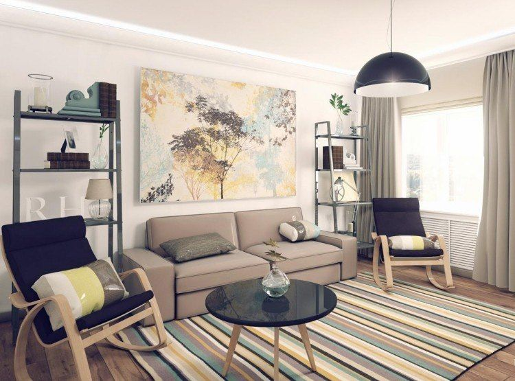 Modernes Wohnzimmer In Frischen Und Gelben Farben Gehalten