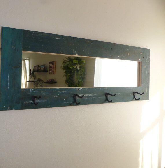 Rustic Coat Rack Mirror Combo Handmade With Reclaimed