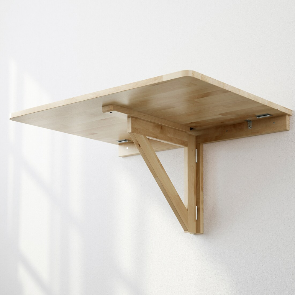 Norbo Wall Mounted Drop Leaf Table Birch 79x59 Cm In 2020 Drop Leaf Table Wall Mounted Folding Table Leaf Table