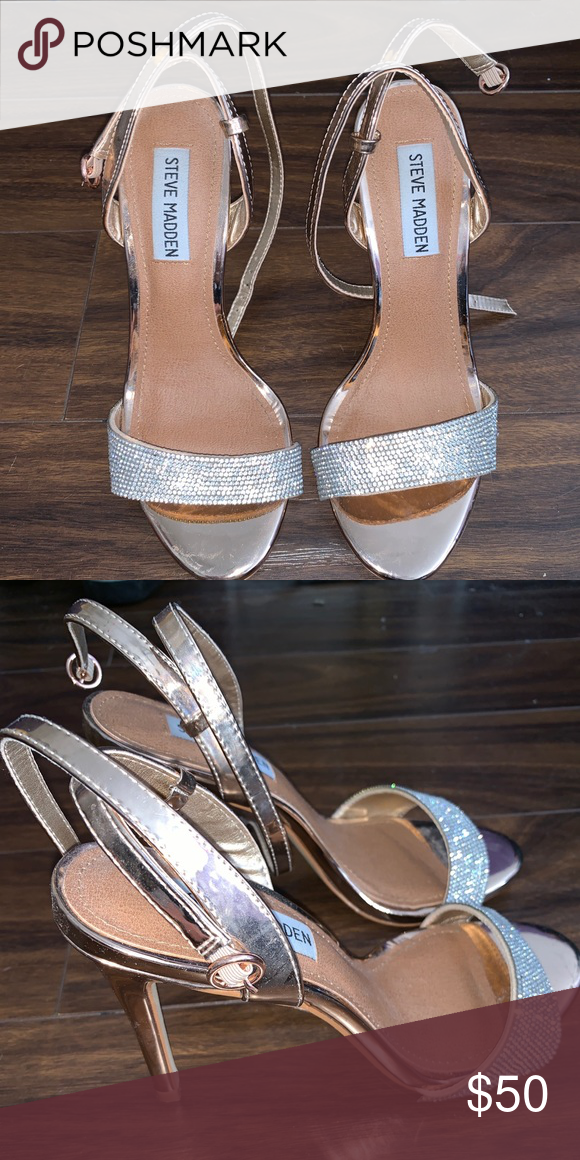 f5aa668eac4 Steve Madden Rose Gold Sparkly Open Toed Heels Size 7 Rose gold with ...