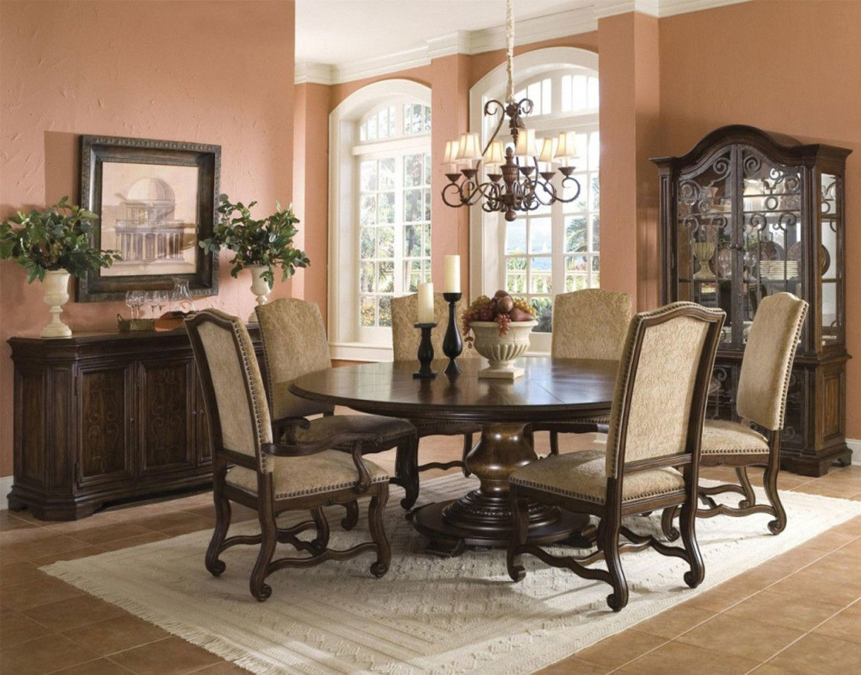 Foxy Brown Dining Room Table Design With White Candles Black Candle Holders And Cream Armchairs Along Rug On Floor Tile Inspirin Jpg