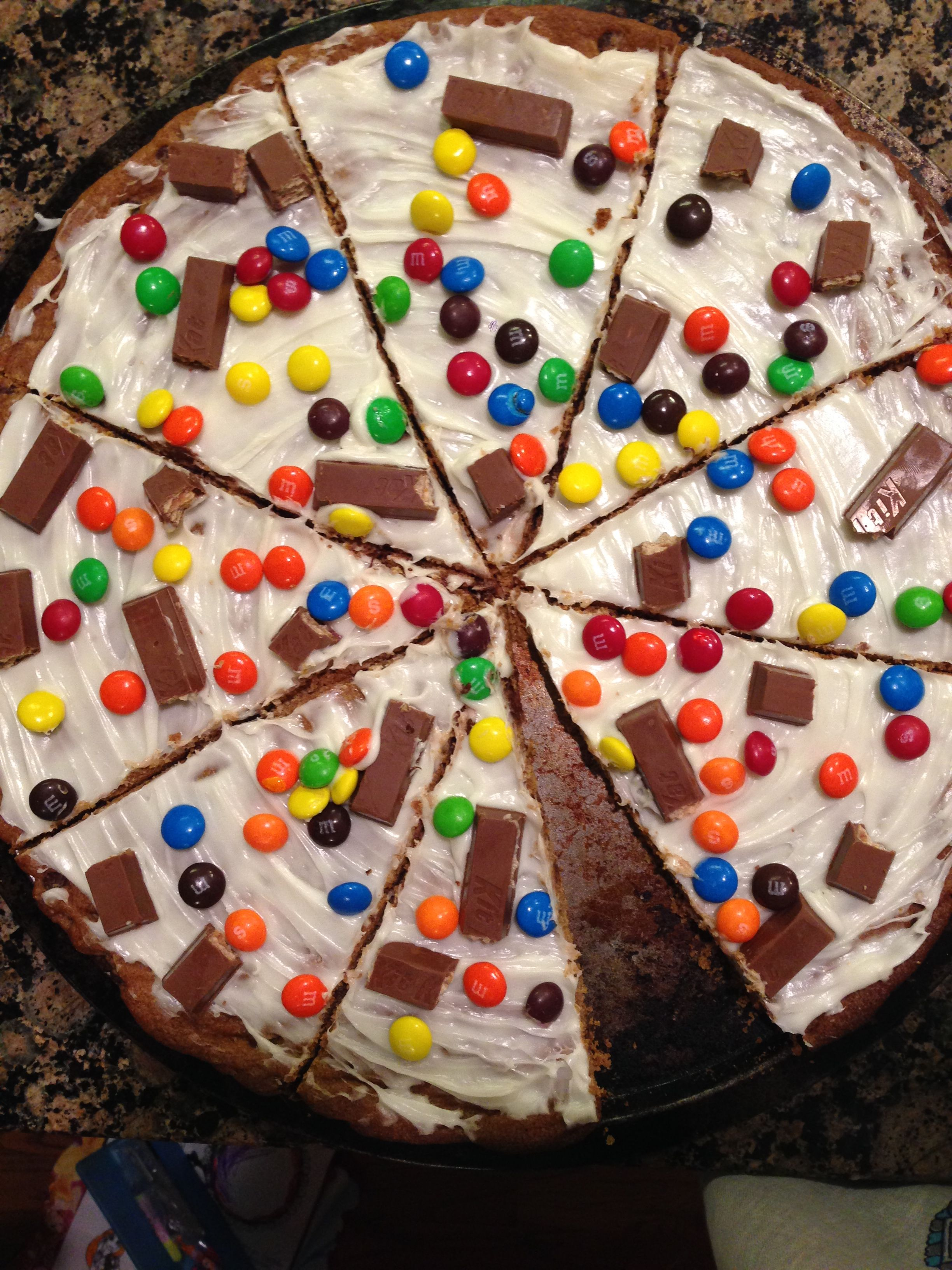 A homemade candy pizza made by my amazing cousin With the crust
