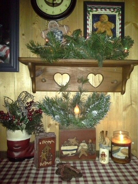 A Cinnamon Christmas prim block with homespun and matching wooden box with electric candlestick and pine.  Love my prim gingies!