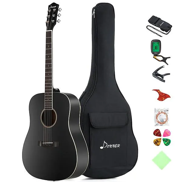Donner 41 Inch Full Size Dreadnought Black Acoustic Guitar Gear Up Cover Up Reverb Black Acoustic Guitar Guitar For Beginners Guitar