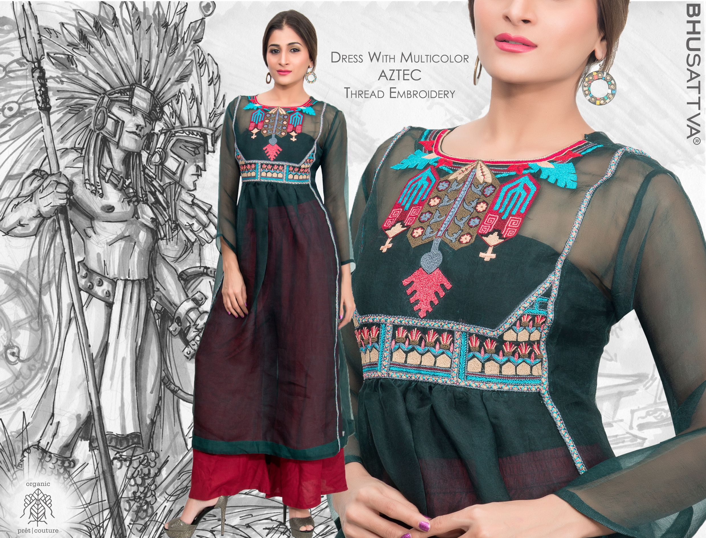 Proclaim this black dress with aztec thread embroidery from, the house of Bhusattva • • • • #Bhusattva #Organic #Pret #Couture #Sequins #Kurta #aztec #HandEmbroidered #SkinFriendly #BreatheEasy #ReflectOrganic #RevealYourself #iWearBhusattva #BelieveWhatYouWear #TrustNature #MysticalNature #CloseToNature #OrganicIdeology #OrganicCollection #NaturalDyes #EcoFashion #OrganicFashion #SustainableFashion #GoOrganic #WearOrganic #DesignerLabel #DesignerWear #EcoFriendly