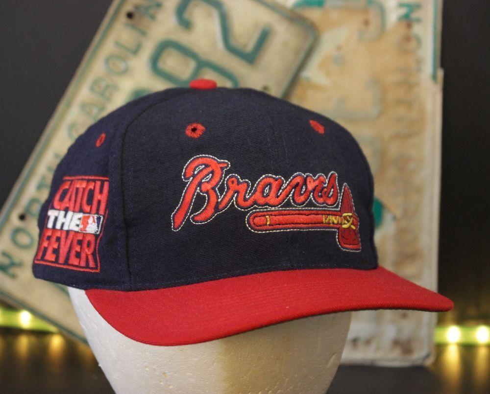 Vintage Atlanta Braves Snapback Hat Baseball Cap Catch The Fever Retro Navy Red Thegame Baseballcap Snapback Hats Hats Baseball Hats