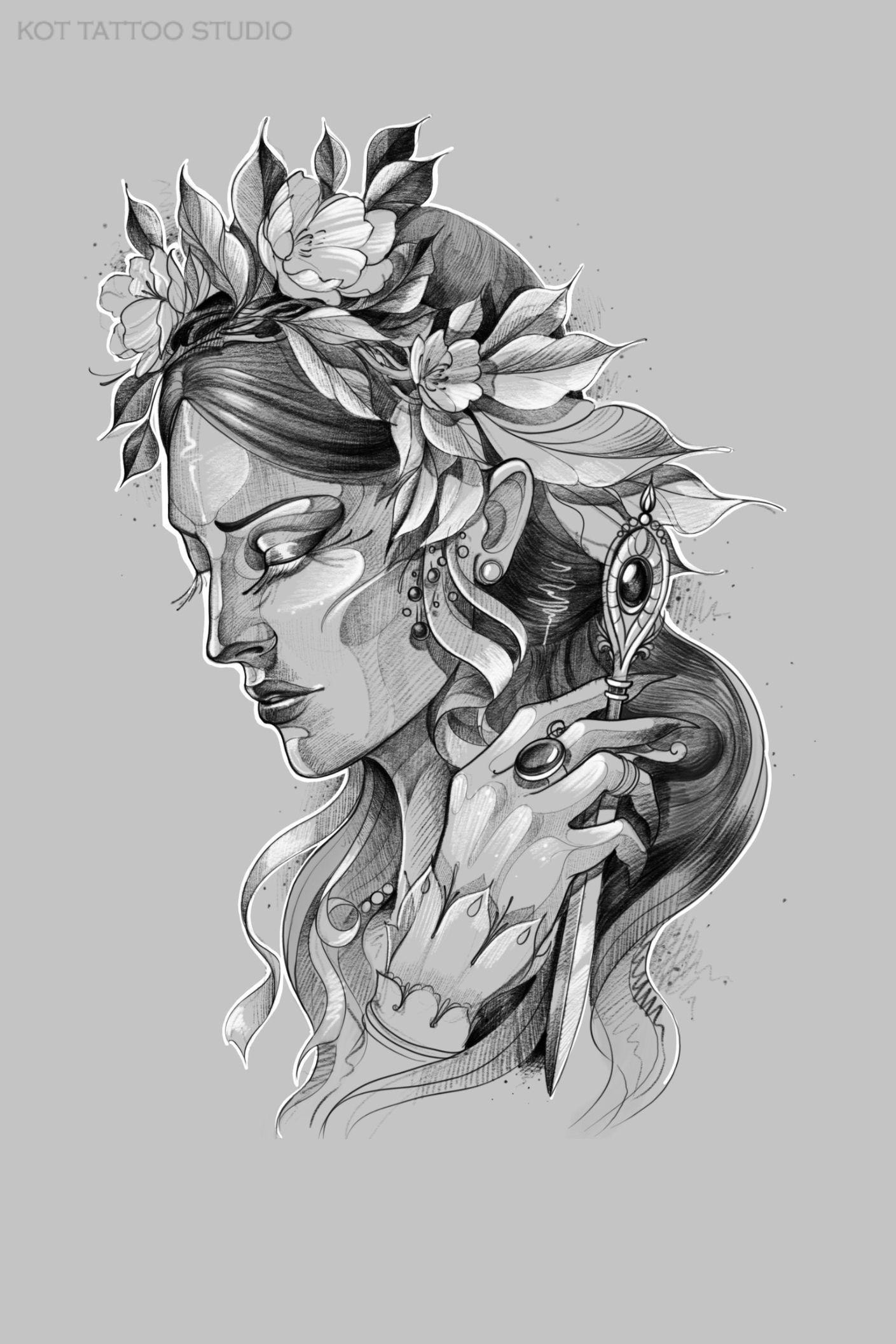 Черно белый эскиз тату с цветами: Пин на доске ศรัทธา