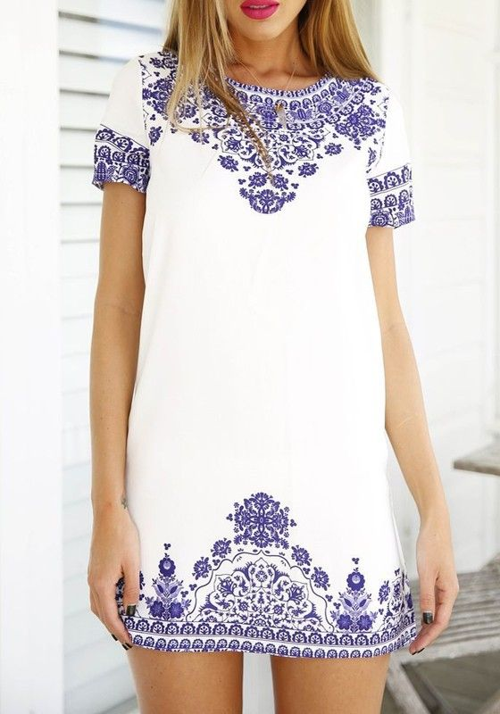 Blue-White Floral Short Sleeve Vintage Loose Dress | Floral shorts ...